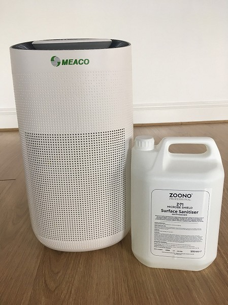 Meaco air purification system and Zoono Surface Cleaner